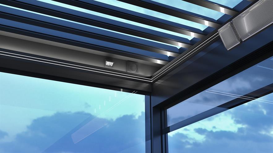 alunimum pergola roof detail