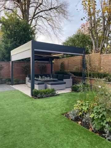 garden pergola with heating